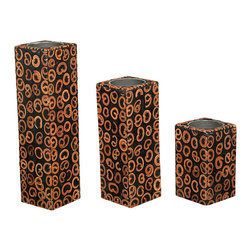 Set 3 Square Pillar Cinnamon Tealight Candle Holders - This is a beautiful set of 3 tealight candle holders. They have traditional candle holder cups on top that hold a standard 1.5 inch round tealight candle. They feature elegant square surface and they are beautifully crafted with cinnamon richly adorned with scroll patterns. It is a lovely set that will blend well in many interiors.
