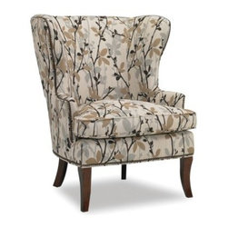 Sam Moore Hamlin Wing Chair - Beige - The Sam Moore Hamlin Wing Chair - Beige is a transitional-style wing chair with a handsome twig and leaf pattern accented by nailhead trim detailing. Its blendown plus seat cushion and perfectly placed arms add comfort. Tapered wood legs in an espresso finish add style and the welt trim lends detail.About Sam MooreSince 1940, Sam Moore's hand-crafted upholstered furniture has offered extraordinary quality, comfort, and style. This Bedford, Virginia-based company proudly crafts its products right here in the USA. From classic to transitional to contemporary styles, Sam Moore takes time with every detail, making sure each piece is something you'll appreciate in your home.