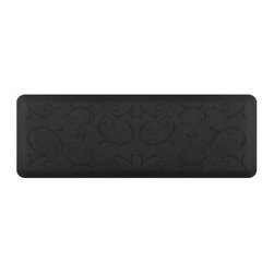 WellnessMats - Wellness Mats Floor Mat Motif Bella 6'x2', Black - As in all of our mats, the Motif Collection surface is incredibly supportive, resilient and feels like heaven on your feet. It is easy-to-clean, will never curl or delaminate and, of course, it provides unprecedented comfort and relief while you stand.