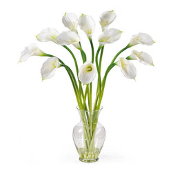 Nearly Natural - Nearly Natural Calla Lilly Liquid Illusion Silk Flower Arrangement in Cream - Calla Lilly Liquid Illusion Silk Flower Arrangement in Cream by Nearly Natural Treat yourself and your home to the classic beauty of calla lilies. This calla lily silk arrangement features a dozen brilliantly arranged stems. Delicate and graceful this gorgeous item stands 29��_��__ tall and comes in your choice of 3 charming colors: Cream, gold, and pink. This item sits nestled in a classic glass vase with artificial water. Incredibly elegant, this silk calla lily arrangement is made to enhance any setting. Color: Cream, Height: 29��_��__.