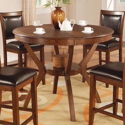 Coaster - Nelms Collection Counter Height Table in Walnut - This casual dining group is made from select hardwoods and veneers and finished in a brown walnut color. Chairs are wrapped in a black leather-like vinyl.