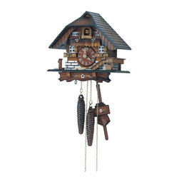 Schneider Cuckoo Clocks - 1-Day Farmhouse Style Cuckoo Clock w Door - Chalet style. 1-day rack strike basic movement. 1-day mechanical clock requires the weights to be wound after every 24-hour cycle . Features standard Cuckoo calls and strikes every half and full hour. Wooden cuckoo, dial with roman numerals and hand. Shut-off lever on left side of case, silences the strike, call and music. Manual shut-off lever. Hand painted flowers. Made from wood. Made in Germany. 8.66 in. W x 7.48 in. D x 15.35 in. H (9.04 lbs.). Care Instructions