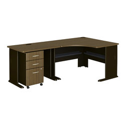 BBF - Bush Series A 3-Piece Corner Computer Desk in Sienna Walnut - Bush - Computer Desks - WC25566PKG3