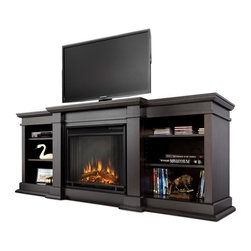 "Real Flame - Fresno Electric Fireplace in Dark Walnut - 1400 Watt heater, rated over 4700 BTUs per hour. Programmable thermostat with display in Fahrenheit or Celsius. Ultra Bright LED technology with 5 brightness settings. Digital readout display with up to 9 hours timed shut off. Dynamic ember effect. Fireplace includes wooden mantel, firebox, screen, and remote control.. Solid wood and veneered MDF construction. Fits up to a 50"" diagonal TV - 100lb. weight limit.. Shelf dimensions: 17"" x 14.5"". 71.73 in. W x 19 in. D x 29.88 in. H (170 lbs.)Enjoy the beauty of a Real Flame Electric fireplace, this substantialfreestanding fireplace also doubles as an entertainment center. This unit is able to hold a television of 100 lbs. or less and has adjustable shelving toaccommodate most electronics. The Vivid Flame Electric Firebox plugs into any standard outlet for convenient set up. The features include remote control, programmable thermostat, timer function, brightness settings and ultra bright Vivid Flame LED technology."