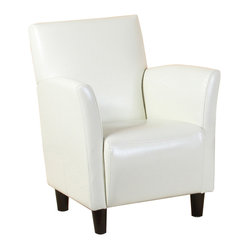 Great Deal Furniture - Pismo White Leather Club Chair - The Pismo elegant white leather club chair is one of its kind! It provides ultimate comfort, whether individually or in entertainment settings. Its design provides rich traditional touch for reception and private office areas. Its unique arms design and classic style allows this club chair to be as sophisticated as the conversations you'll have while sitting in it. Iconic traditional style is exhibited by its smooth lines and quality leather sheen.  Medium firmness cushioning strikes a rare balance between plush comfort and support. A hardwood frame ensures lasting quality.
