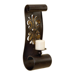 Benzara - Bronze Metal Wall Sconce Candle Holder Scroll Design Cut out Details Decor 56446 - Beautiful bronze metal wall sconce candle holder with elegant scroll design and cut out details home accent decor