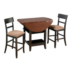 Jofran - Jofran Brunette Cherry 3 Piece Double Leaf Counter Height Table Set - Combining traditional details with modern designs, Jofran has a collection to compliment any home decor. This Brunette & Cherry 3 Piece Counter Height Double Leaf Table Set belongs to 218 Series - Brunette / Cherry Collection by Jofran Inc. The classic formulas of color combinations are not valid in Jofran Furniture territory: here is ruled by laws solely of your own preferences and fantasies. Huge selection of colors in combination with a wide choice of shapes and sizes allow you to find among this variety precisely the furniture you've always wanted to see in your home. Jofran Furniture offers high quality, casual furniture pieces that are constructed from premium Asian Hardwoods, and finished with beautiful veneers. Durable materials and quality assembly will help your furniture to serve for many years and will not let you be disappointed in your choice.
