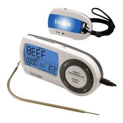 Taylor - Taylor Wireless Thermometer Timer - Taylor Wireless Thermometer w/ remote Digital Pager plus timer.  9 preset temperatures or customize to individual use.  transmits signal up to 200'.  backlit and clock features.  cord resists temperatures up to 500o.  auto off.  4 AAA batteries included