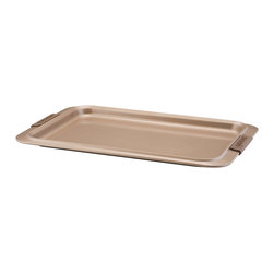 "Anolon Advanced Bronze Bakeware 10"" x 15"" Cookie Sheet - Featuring a shallow rim for even more baking versatility  the Anolon Advanced Bronze Nonstick Bakeware 10-"" by 15-"" Nonstick Cookie Pan with Silicone Grips is designed to make baking easier and more efficient  and measure up to the high standards of serious bakers. This cookie pan is ideal for creating persimmon bars or steel-cut oatmeal cookies. It's also great for baking sweet potato French fries or roasting farmer's market vegetables. Constructed of heavy-duty carbon steel  Anolon Advanced Bronze Bakeware has all the features and benefits of regular Anolon Advanced Bakeware in a warm hue that coordinates with the Anolon Advanced Bronze Cookware collection.  Product Features      Heavy duty carbon steel construction   Anolon SureGrip handles for a comfortable grip   Oven safe to 450 Degrees F   Durable nonstick surface allows for effortless food release   Limited lifetime warranty"