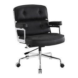 Modway Furniture - Modway Remix Office Chair in Black - Office Chair in Black belongs to Remix Collection by Modway Jam to a different beat with the Remix office chair. Lavishly upholstered in padded vinyl, the chair is striking both in presentation and comfort. Perhaps most noticeable of all are the generously padded armrests. Most competing chairs make do with a thin semblance of softness-not so with Remix. The chair beckons you to sit and enjoy your time there thoroughly. The frame is constructed of high-polished aluminum and is fitted with a hooded base with five dual-wheel casters. Fully height adjustable with 360 degree swivel, this high back chair also works well for most heights and builds. Set Includes: One - Remix Deluxe Vinyl Executive Office Chair Office Chair (1)