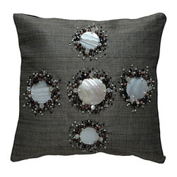 Kouboo - Decorative Pillow Cover with Kabibe Seashell and Beads, Black - This unique, hand-woven throw pillow is decorated with naturally iridescent, exotic Kabibe seashell. Additionally adorned with wooden and glass beads, this decorative accent is perfect for embellishing sofas or chairs, or incorporated into any bedroom decor. Woven of Abaca fabric derived from the leaves of the tree-like Abaca herb, this beautiful accent lends a seashore ambiance to any room of the home.