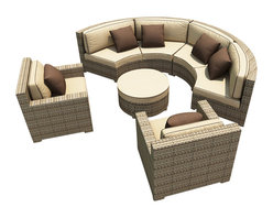 Forever Patio - Hampton 5 Piece Wicker Patio Sectional Set, Heather Wicker and Beige Cushions - The Forever Patio Hampton Radius 5 Piece Rattan Outdoor Sectional Set with Cream Sunbrella cushions (SKU FP-HAMR-5SEC-HT-AC) creates a stylish outdoor lounge that is sure to enhance the function and look of any patio area. The set seats 6 to 7 adults comfortably, and features Heather resin wicker, which is made from High-Density Polyethylene (HDPE) for outdoor use. Each strand of this outdoor wicker is infused with its natural color and UV-inhibitors that prevent cracking, chipping and fading ordinarily caused by sunlight, surpassing the quality of natural rattan. Each piece features thick-gauged, powder-coated aluminum frames that make the set extremely durable. Also included with this modern round sofa set are fade- and mildew-resistant Sunbrella cushions. These plush cushions and generously sized seats create an curved outdoor sofa sectional that rivals the comfort of an indoor sectional.