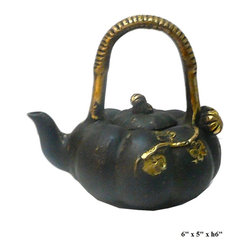 Chinese Rustic Metal Pumkin Shape Teapot Display - This is a decorative oriental teapot shape display with rustic metal finish. For display, not for use.