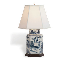 "Kathy Kuo Home - Canton Blue and White Contemporary Tea Jar Hand Painted Lamp- 23""H - Blue and white Chinese porcelain lamps are found in so many design traditions from French Country and Global Bazaar to classic Asian and beyond.  There's a reason: they look great!  Collectors know, when a great hand painted piece like this arises, its always the right time to find a corner in need of a style boost."