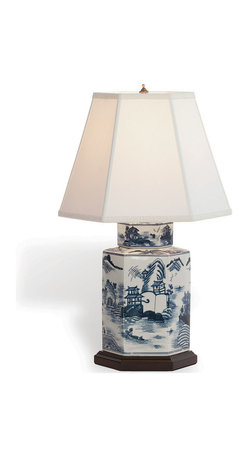 Kathy Kuo Home - Canton Blue and White Contemporary Tea Jar Hand-Painted Lamp - Blue and white Chinese porcelain lamps are found in so many design traditions from French Country and Global Bazaar to classic Asian and beyond.  There's a reason: they look great!  Collectors know, when a great hand painted piece like this arises, its always the right time to find a corner in need of a style boost.