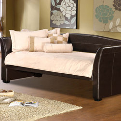 Hillsdale - Montgomery Daybed - Add style to your home with the Montgomery daybed,featured in a brown or white finish. The bed is a classy sleigh style with brown or white faux leather.