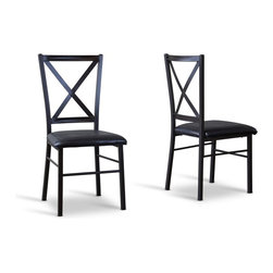 Baxton Studio - Baxton Studio Rexroth Metal Contemporary Dining chair-Set of 2 - When it comes to style, our Rexroth Metal Contemporary Dining chair gets excellent marks. Its X-patterned chair back provides a sophisticated yet streamlined appearance. Sturdy antique-black powder-coat metalwork and black faux-leather seat upholstery combine to create exquisiteness at a discount price.