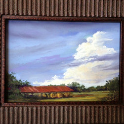 """""""Tall Texas Thunder Miniature"""" (Original) By Lindy Cook Severns - Texas Skies Are So Big And Bold, They Dwarf The Landscape Below. This Open-Sided Barn Near Glen Rose, Texas Sheltered Round Bales Of Recently Mown Hay From The Towering Thunderhead Moving In From Dallas. I Used To Copilot A Jet, So I Love Painting The Sky'S Drama. The Primary Colors In This Scene Intrigued Me."""