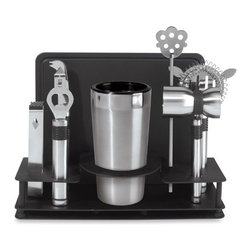 Oggi - Pro Stainless Steel 10-Piece Cocktail Shaker and Bar Tool Set - Perhaps you've mastered the art of making the perfect cocktail. If so, this 10-piece Cocktail Shaker and Bar Tool Set will have you churning out your masterpiece drinks with everything you need at hand. Each item is carefully constructed with high quality stainless steel, and includes all the essential bar tools as well as its own unique stand for quick accessibility.