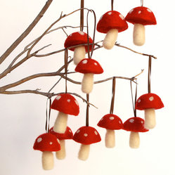 Large Red Toadstool Christmas Ornaments by Fairyfolk