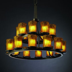 Justice Design Group - Justice Design Group GLA-8767 Dakota 21 Light 2-Tier Ring Chandelier Ve - Justice Design Group GLA-8767 Dakota 21 Light 2-Tier Ring Chandelier from the Veneto Luce CollectionThe Veneto Luce� Collection is Justice Design Group, LLC's new collection incorporating handcrafted glass shades. Each glass shade is truly a work of art, created by artisans in the historic city of Venice, Italy, where glass-making has been an art form for more than 700 years.From an elegant lamp atop a contemporary end table to a dramatic sconce illuminating a formal entryway, Justice Design offers a wide array of lighting solutions for residential and commercial settings. Create a mood, complement a theme, or simply add the perfect accent with a Justice Design decorative lighting fixture.
