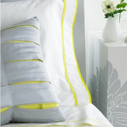 "Blissliving Home - Ayanna 300 Thread Count Sheet Set in Citron - Features: -Available in Queen or King sizes. -Includes fitted sheet, flat sheet and pillowcase. -Color: Citron. -Material: 100% Cotton. -300 Thread count. -Accented with a double grosgrain ribbon trim in bright citron green. -Showing a pop of color along the edges. -18"" Deep fitted, elastic all around. -Machine washable."