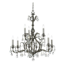 Crystorama Lighting - Crystorama Lighting 5569-PW-CL-MWP Dawson Traditional Chandelier in Pewter - Crystorama Lighting 5569-PW-CL-MWP Dawson Traditional Chandelier In Pewter With Clear Hand Cut Crystal