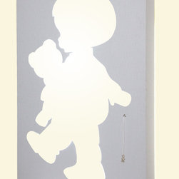 KIDS WALL LAMP. - Child with a litle bear.