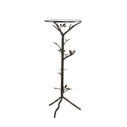 InnerSpace Luxury Products - InnerSpace Large Glass Bird Table Collection - InnerSpace Occasional Table Collection features natural inspiration and chic elegance.  Combine in this contemporary and stylish tripod large end table, completed by an aged, bronze finish and small bird and tree branch/leaf accents.  At 14L x 14W x 36H, it is designed to accompany any room or d_cor.  These lightweight, sturdy tables feature a removable glass top for convenient cleaning.  Match it with any piece of furniture, from your bed to your living room sofa.  One Year Limited Manufacturer Warranty.