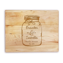 Personalized Planet - Mason Jar Personalized Maple Cutting Board - The playful, personalized design of this cutting board makes it a great housewarming gift and a charming display piece.   14'' W x 11'' H Maple Hand wash Made in the USA