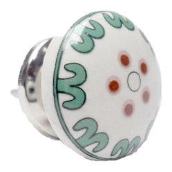 White with Green Ceramic Round Knob