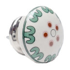 Modelli Creations - Ceramic Round Knob, White With Green - Dress up your dresser with this lovely set of four matching knobs. The delicate teal curves and red dots are perfect for a Shabby Chic bedroom, adding a vintage feel to your favorite furniture. Embellish a vanity, console or side table with a quick and style easy makeover.