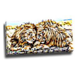 Soul Mates - Lion Animal Canvas Art, 32W x 16H, 1 Panel - This animal artwork is a gallery wrapped canvas piece. This design is printed in high quality fade resistant ink on premium quality cotton canvas.