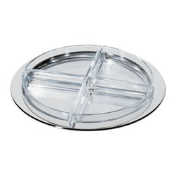 """Alessi - Alessi Hors d'Oeuvre Set - At your next party, serve hors d'oeuvres from this beautiful polished stainless steel and crystal glass tray. You'll definitely be rated the """"hostess with the mostest."""""""