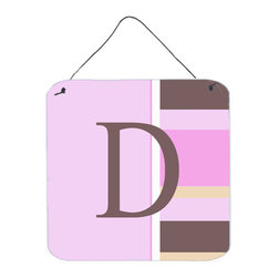 Caroline's Treasures - Letter D Initial Monogram - Pink Stripes Aluminium Metal Wall Or Door Print - Great for inside or outside these Aluminum prints will add a special touch to your kitchen, bath, front door, outdoor patio or any special place.  6 inches by 6 inches and full of color.  This item will take direct sun for a while before it starts to fade.  Rust and Fade resistant.  Aluminum Print with Hanging Rope.  Rounded Corners.