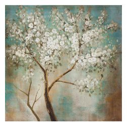 Yosemite Home Decor - Tree in Bloom Art - This beautiful white blossom tree painting amidst hues of teal, and tan will bring a calm serenity to your room of choice. This makes the perfect addition to your existing decor without being the main focus.