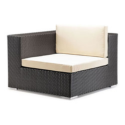 ZUO - Cartagena Corner Chair - Boxy lines offset by light cushions lend a chic ambiance to an outdoor party or a solitary sunset. The weather-resistant Cartagena series features a sectional, loveseat, armchair and coffee table. Sold separately.