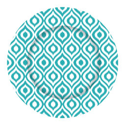 Turquoise Blue Ikat Charger Plates - Set of 12 - Dine in style with our graphically bold charger plates.  Easily update your table with this striking pattern and fresh color.  Our exclusive collection offers a chic and modern interpretation of a classic accessory.