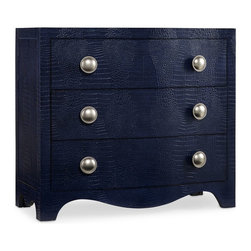 """Hooker Furniture - Hooker Furniture Melange Blue Nile Chest - Like a favorite purse, the Blue Nile Chest with its faux croc midnight blue leather and chic silver knobs with beaded borders will become an indispensable part of your life. Hardwood Solids and Robus Leather. Dimensions: 38""""W x 18""""D x 33.75""""H."""