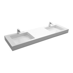 ADM - ADM White Solid Surface Stone Resin Wall Hung Sink, Matte - DW-194