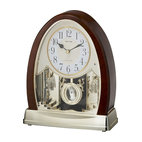 Rhythm Clocks - Joyful Crystal Bells Musical Table Clock Faux - At the top of each hour, the MAGIC Begins!