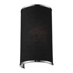 One Light Chrome Black Shade Wall Light - A black colored shade is paired with chrome bands and hardware to create a simple, contemporary look. This wall sconce is a perfect addition to any modern looking area.