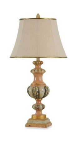 Bombay - Bombay Calabria Traditional Table Lamp - The Calabria lamp has a gorgeous, old Italian-palazzo look. The delicate painting on the base, the gold detail on the shade, and the decorative finial all add to its aura.
