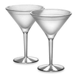 Prodyne - Prodyne Acrylic 10-Ounce Iced Martini Glasses (Set of 2) - Whether you hold your martini glass from the bowl or from the stem, your beverage will stay deliciously chilled when served in the ice shell created by these 10-ounce insulated acrylic martini glasses.