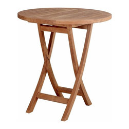 "Anderson Teak - Bahama 27 in. Round Bistro Folding Table - Unfinished - This 27"" diameter table is crafted from decay resistant, golden toned Teak wood and folds flat for ease of storage or transport.  Gather the family around for a barbecue or enjoy an evening drink with friends with this portable bistro table.  Easy folding wooden table makes the outdoors an entertainment spot unlike any other.  Enjoy intimate seating with a bistro folding table for the patio.  Great round girth accommodates drinks and dishes for outdoor picnics and more. * Folding legs. Round in shape. Solid Teak wood construction. 27 in. Dia. x 29 in. H (23 lbs.)This solid Teak ""Round Bistro Folding Table"" makes the perfect addition to your patio, garden, backyard or anywhere. Fold it up and carry it away."