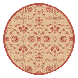 Dynamic Rugs - Dynamic Rugs Piazza Round 7.10 2744-3701 Nature Red - The Piazza Collection is the answer to one of the newest trends in home design: the outdoor rug. Perfect for a sunroom or outdoor patio area, these rugs are woven with synthetic, high resistance yarns for strength to stand up to the seasons. Available in a wide range of styles, shapes and sizes, the Piazza Collection brings the high quality necessary for outdoor living.