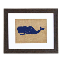 "Fiber and Water - Sperm Whale Art - Inspired by Melville's ""Moby Dick,"" this great blue whale brings killer style to your favorite setting. The unusual texture of burlap is hand-pressed using water-based ink and framed in distressed wood to make a rustic, textural artistic statement."