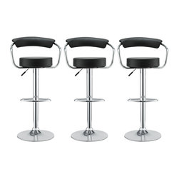 LexMod - Diner Bar Stool Set of 3 in Black - The 1950's Diner Bar Stool is a great choice for folks who want supreme comfort in a Bar Stool. Thick cushion greet the user like an old friend, and upholstered back rest invites you to lean back and relax. The base and pole's shiny chrome finish, give it a delightful retro feel; have the best of yesterday today.