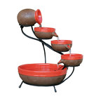 Smart Solar - Tangerine Ceramic Solar Cascade - with Rustic Brown finish - Tangerine Ceramic solar powered 4 tier cascading fountain with Rustic Brown finish. Creates a relaxing atmosphere on your patio, deck, balcony or in your garden. Recycles water from the main bowl reservoir. Operates in direct sunlight. Powered by a separate solar panel with a 10 ft cable. Low voltage pump with filter. No wiring, simply install and enjoy. No operating costs. Optional AC adapter for indoor use sold separately.