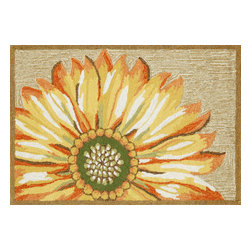 """Trans-Ocean Inc - Sunflower Yellow 20"""" x 30"""" Indoor/Outdoor Rug - Richly blended colors add vitality and sophistication to playful novelty designs. Lightweight loosely tufted Indoor Outdoor rugs made of synthetic materials in China and UV stabilized to resist fading. These whimsical rugs are sure to liven up any indoor or outdoor space, and their easy care and durability make them ideal for kitchens, bathrooms, and porches; Primary color: Yellow;"""